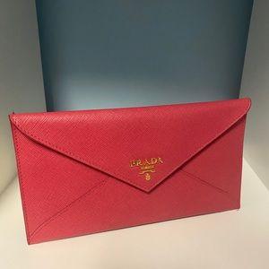 Pink Prada envelope bill pouch/ wallet